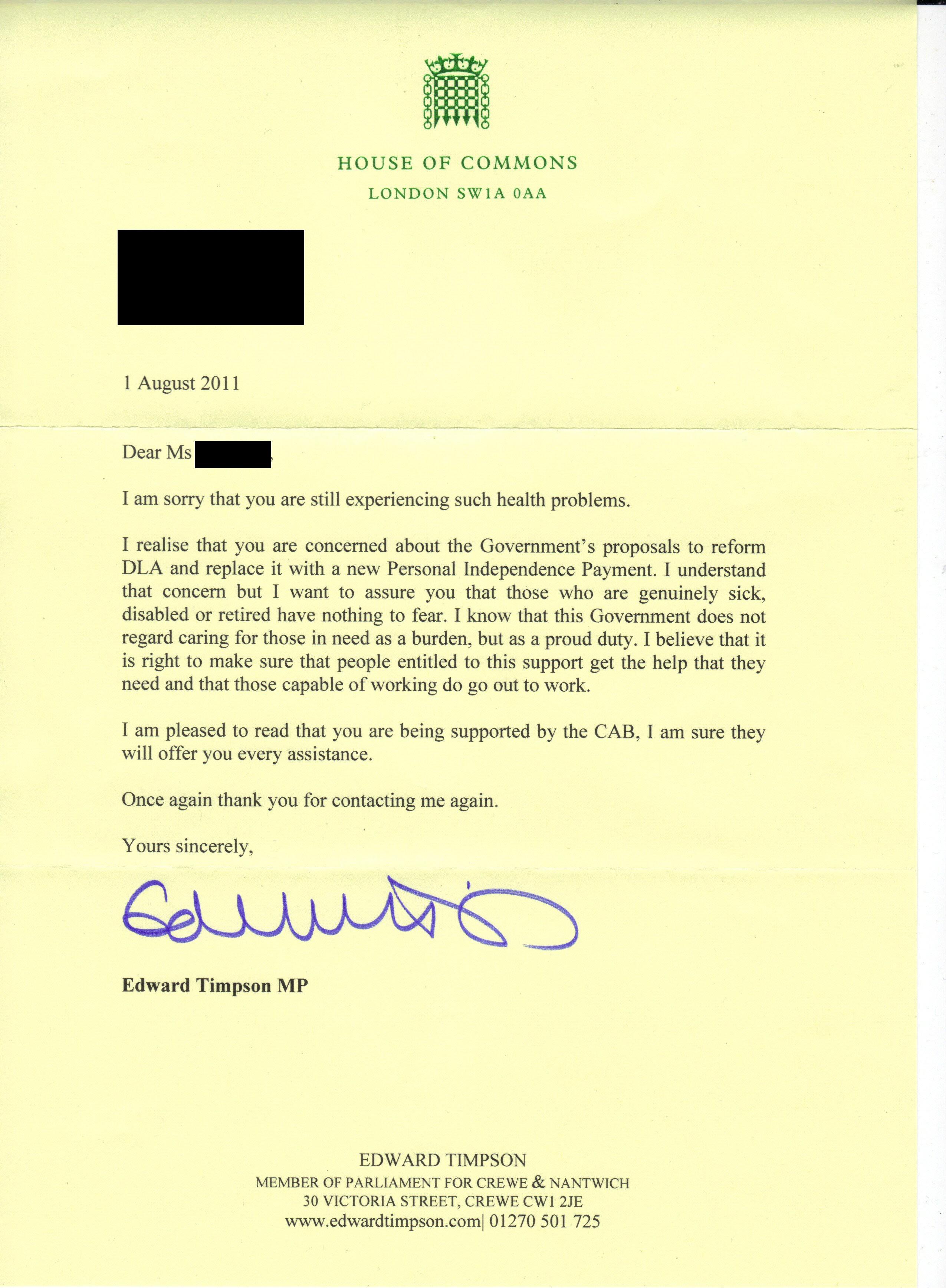 Dear Mrs TeePot: an MP's response